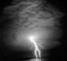 Lightning over Penmon Lighthouse from Llanfairfechan by Terry Greenwood