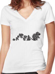 Reptilian Evolution in The Mushroom Kingdom Women's Fitted V-Neck T-Shirt