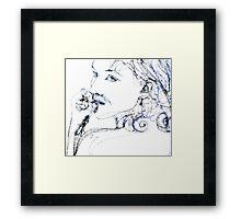 Kel Blue - 30 second Scribble Framed Print