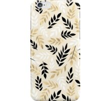 Black, White & Gold Fronds iPhone Case/Skin