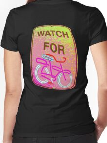 WATCH OUT!!! Women's Fitted V-Neck T-Shirt