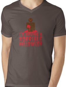 I'm having a HORRIBLE HALLOWEEN with zombie guy distressed Mens V-Neck T-Shirt