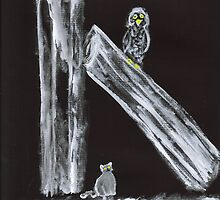 Cat Stalking Owl in Black and White by hopelessmoo