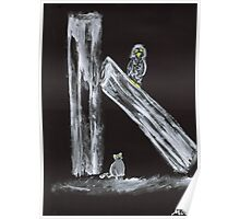 Cat Stalking Owl in Black and White Poster