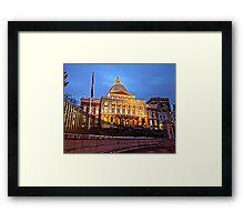 Massachusetts State House - After Dark Framed Print