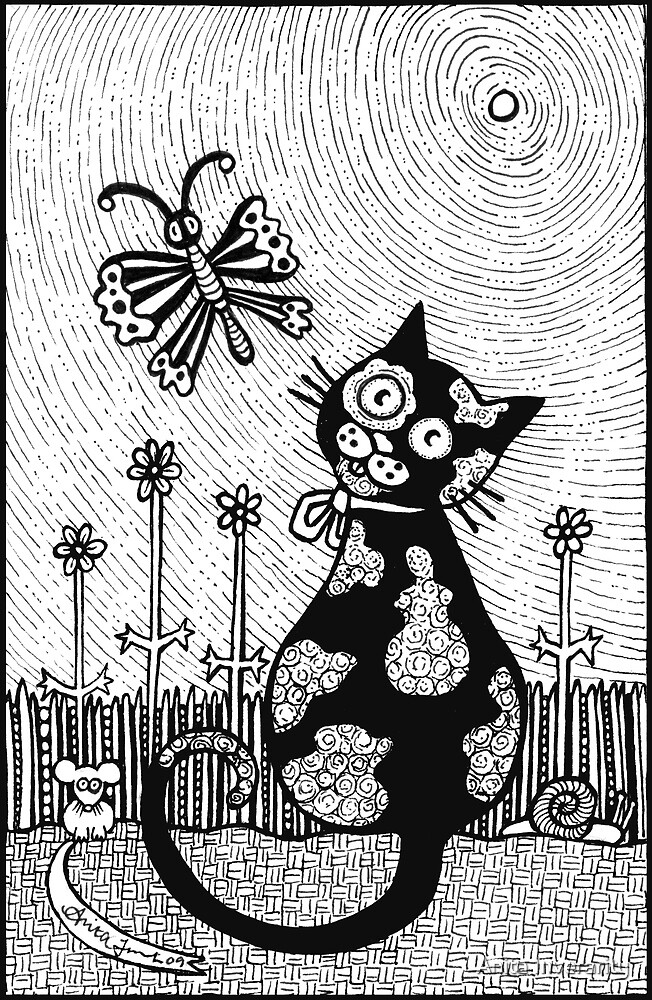 Pusskins Flutterby  by Anita Inverarity