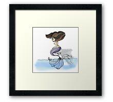 Lonely Mermaid in colour - Scribbler Framed Print
