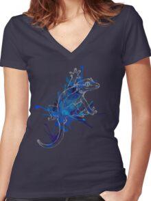 Taru-Blueberry Splash : Pale Lines Women's Fitted V-Neck T-Shirt