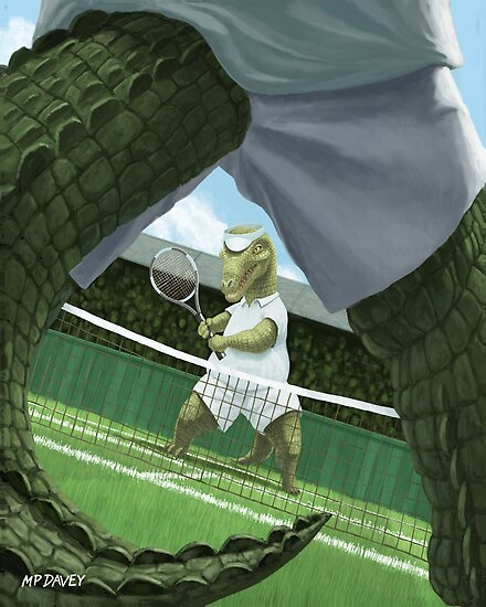 crocodiles playing tennis  by martyee