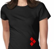 Minimalist Harley Quinn v1: 3 Red Diamonds Womens Fitted T-Shirt