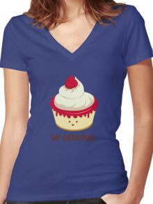 Say CheeseCake! Women's Fitted V-Neck T-Shirt