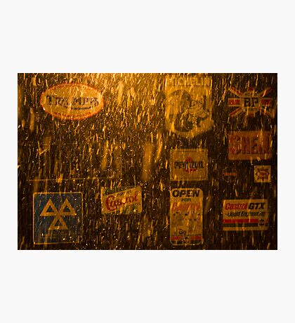 garage door night snow poynings  Photographic Print