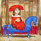 Musician on the blue horse by Tigran Akopyan