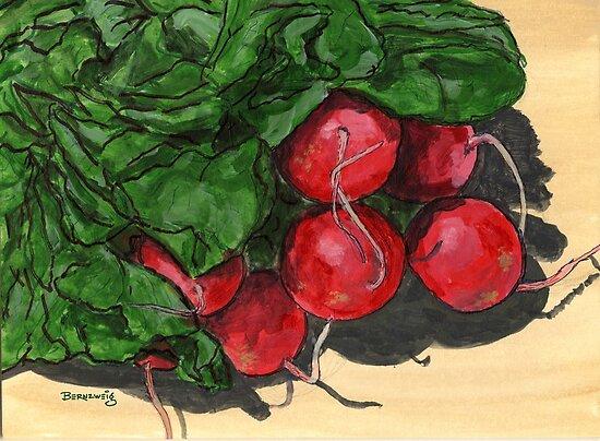 Fresh radish cluster by bernzweig