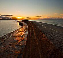 Sunrise over the Lyme Regis Cobb by Shaun Whiteman