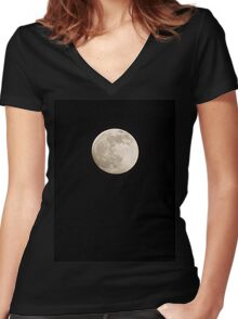 Full Moon Women's Fitted V-Neck T-Shirt