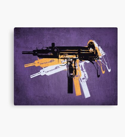 Uzi Sub Machine Gun on Purple Canvas Print