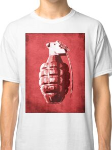Hand Grenade on Red Classic T-Shirt