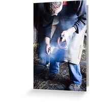 Farrier measuring hot shoe for size Greeting Card