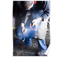 Farrier measuring hot shoe for size Poster