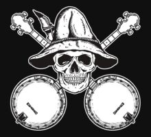 Blue Grass Skull and Banjos by ZugArt