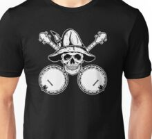 Blue Grass Skull and Banjos Unisex T-Shirt