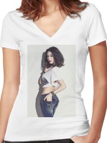 T-ara - JiYeon Women's Fitted V-Neck T-Shirt