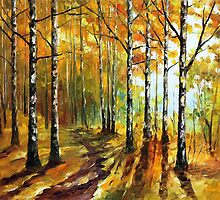 Sunny Birches - original oil painting on canvas by Leonid Afremov by Leonid  Afremov