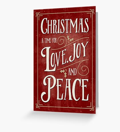 Christmas Card - Love Joy Peace - Red Gold Greeting Card