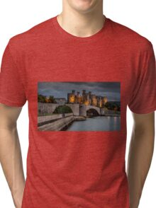 Conwy Castle by Lamplight Tri-blend T-Shirt
