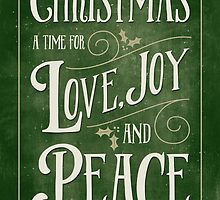 Christmas Card - Love Joy Peace - Green Gold by Natalie Kinnear