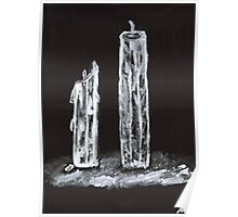Candles in Black and White Poster