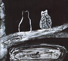 Fishing Buddies in Black and White by hopelessmoo