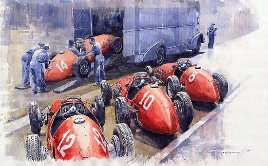 Team Ferrari 500 F2 1952 French GP by Yuriy Shevchuk