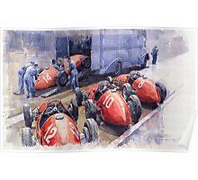 Team Ferrari 500 F2 1952 French GP Poster