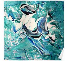 Blue & White Abstract Design  Poster