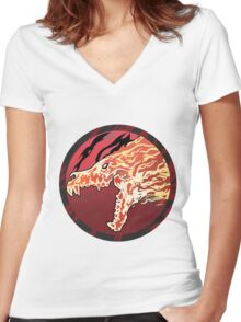 Flaming Howl High Res Version Women's Fitted V-Neck T-Shirt