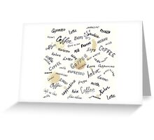 Coffee words background Greeting Card