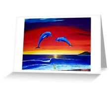 Masters of the Sea - Dolphins at sunset Acrylic Painting Greeting Card