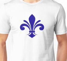 A simple fleur-de-lis pattern in blue Unisex T-Shirt