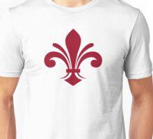 A simple fleur-de-lis pattern in red Unisex T-Shirt