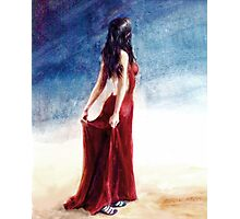 If Love is a Red Dress; watercolors Photographic Print