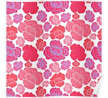 Beautiful pink and red flowers. Poster