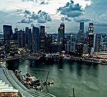 Singapore City Skyline in the sunset by Amelia Chen