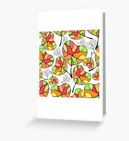 Leaves. Multi-colored leaf. Greeting Card