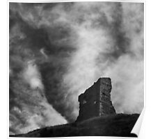 Square Sky With Ruin In Black And White Poster
