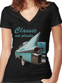 Classic _  not plastic Women's Fitted V-Neck T-Shirt