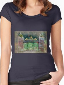 Delgatie Castle Backyard Gate (near Turriff, in Aberdeenshire, Scotland) Women's Fitted Scoop T-Shirt