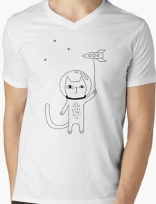 Space Cat Mens V-Neck T-Shirt