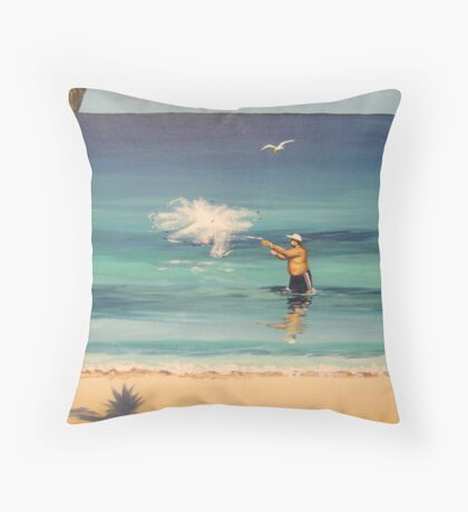 Pedro...Cast Your Net !, Rincon, Puerto Rico Throw Pillow